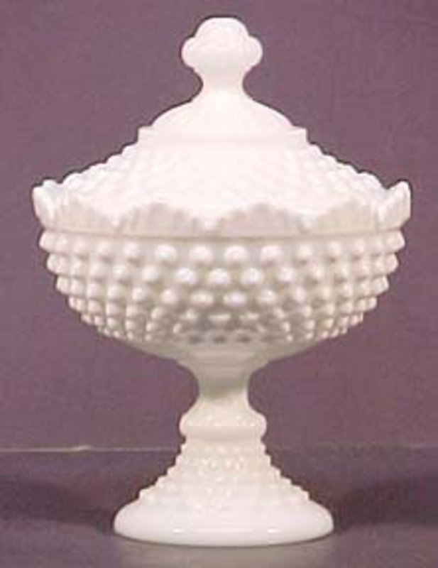 Fenton Hobnail Milkglass Tall Covered Candy