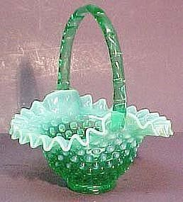 "Fenton Green Opalescent Hobnail 7"" Basket"