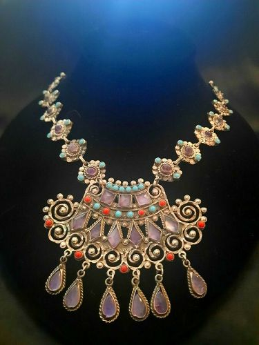 GORGEOUS! CEL 925 SILVER MEXICO ORNATE JEWELED NECKLACE