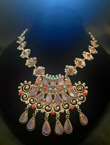 GORGEOUS!CEL ME02 925 Silver Mexico Ornate Jeweled Necklace MATL STYLE