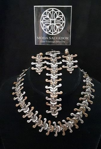 Amazing!!! Vintage Pre-1948 Mexico Sterling Silver and Copper set