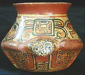 Mayan Polychrome Toad Vessel