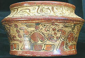 Mayan Incised Polychrome Vessel