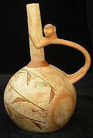 Moche Painted Bottle with Monkey