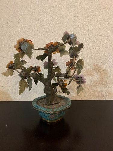Chinese Antique Jade Tree With Cloisonne Pot Qing Dynasty