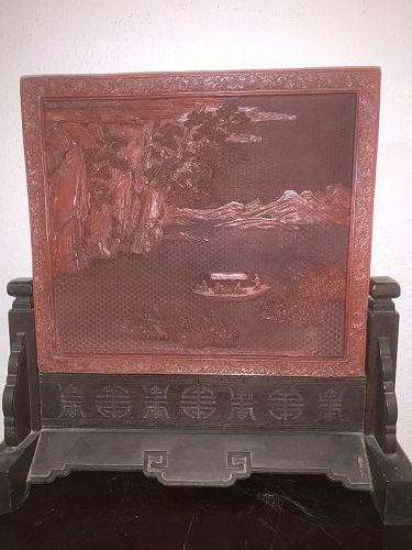 Chinese antique lacquer Cinnabar table screen 18th Century
