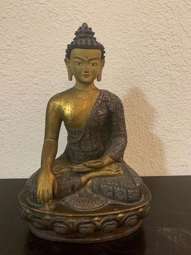 Tibetan antique gold gilt and silver inlaid red copper Buddha statue