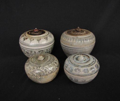 Thai Stoneware Sawankhalok Boxes