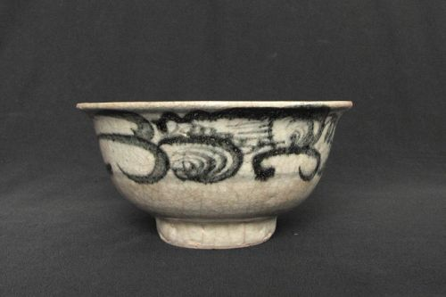 Ming Bowl with Blue and White Crackeled Glaze