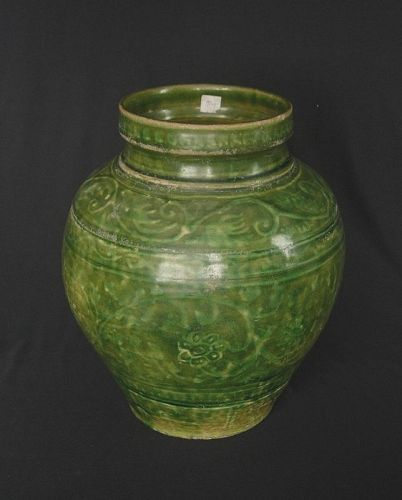 Burmese Green Glazed Jar