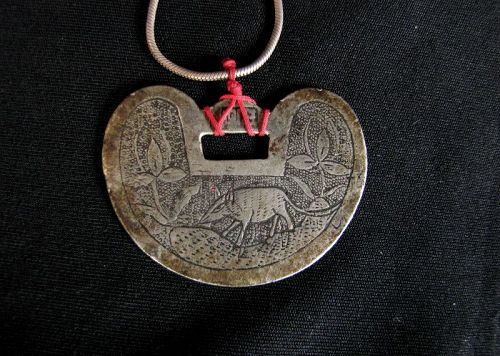 Chinese Lock Charm with a Rat Motif