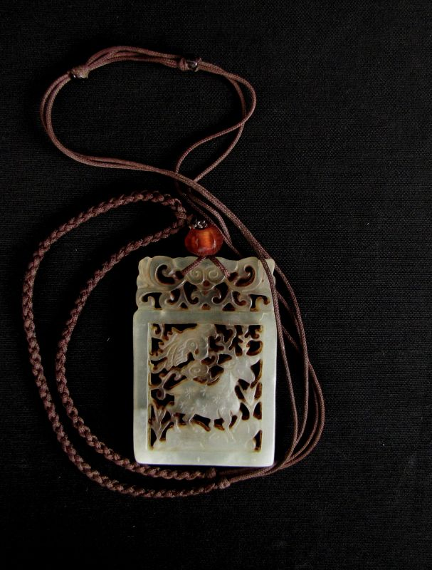 Deer and Crane Jade Pendant