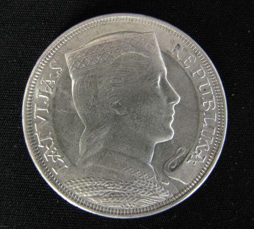 Latvia 5 Lati Coin 1929