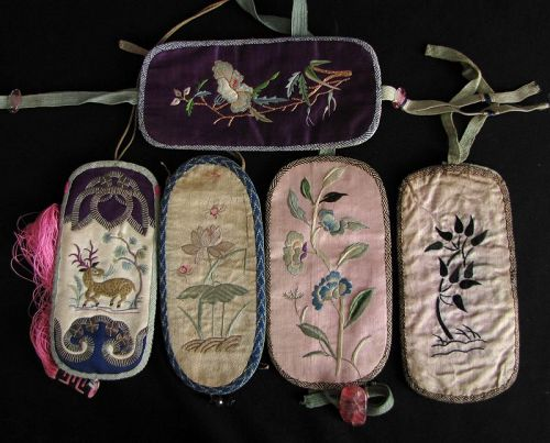 Chinese Antique Silk Embroidered Eye-Glasses Cases