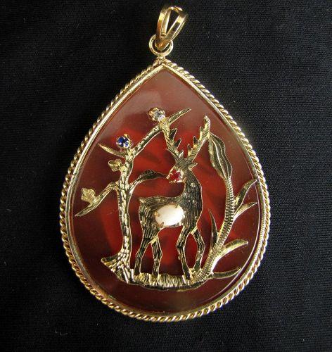 Vintage Hong Kong Carnelian and Opal Pendant