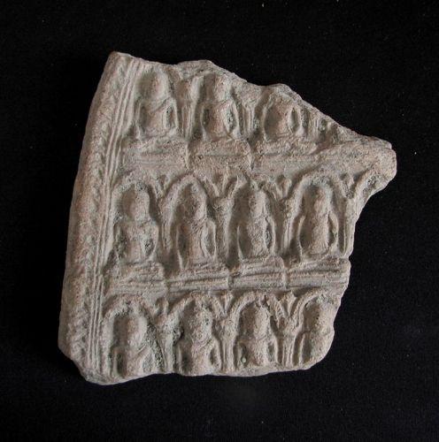Large Buddhist Terra Cotta Votive Plaque Fragment