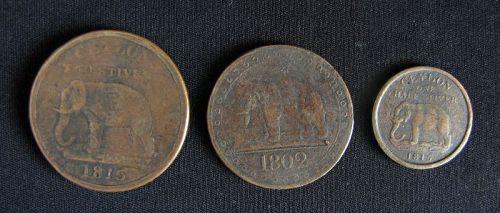 Ceylon British Colonial Era Elephant Coins