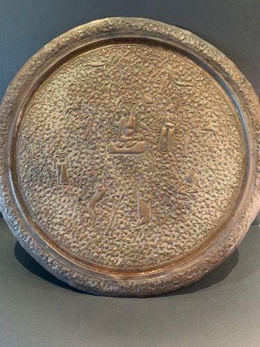 Antique Copper Sri Lankan Ceremonial Offering Tray