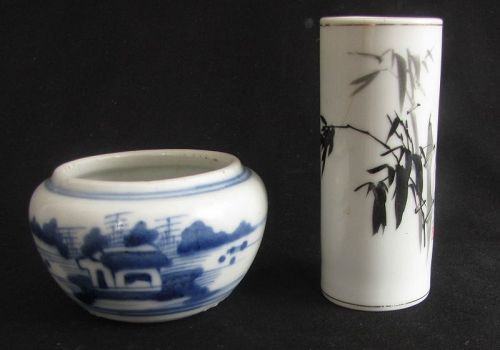 Porcelain Brushwasher and Brushpot