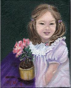 Signed American Oil O/C Painting Portrait Child Girl