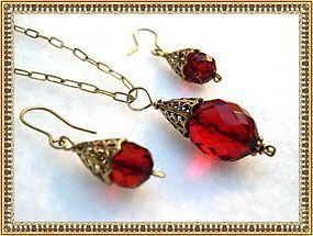 Faceted Cherry Red Necklace Pendant Chain Earring Set Gold Sterling