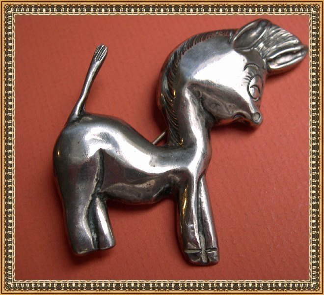Vintage Silver Mexican Donkey Burro Pin Mexico Mark