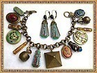 Czech Art Glass Egypt Tut Scarab Cat Charm Bracelet Ear Set