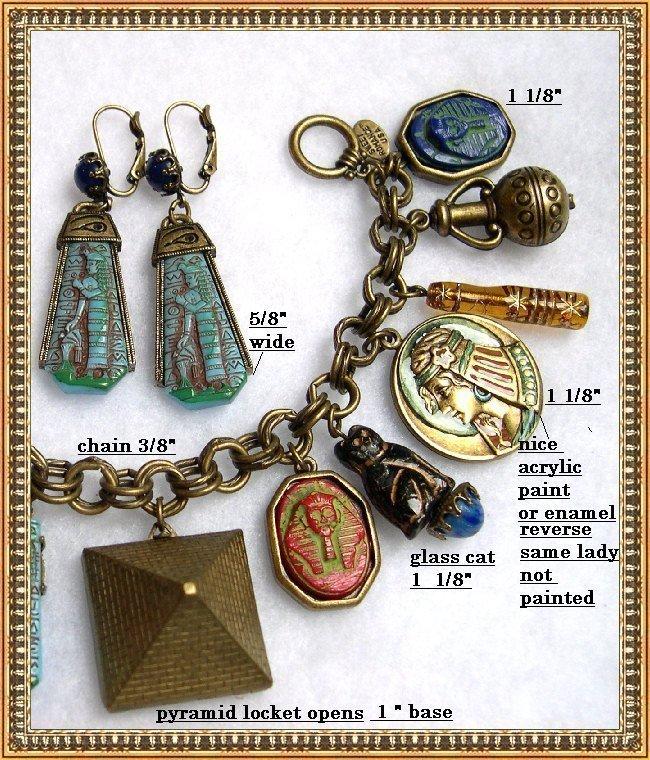 Molded Czech Art Glass Egyptian Tut Scarab Cat Charm Bracelet Ear
