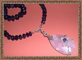 Graduated Knotted Amethyst Necklace Signed Rose Quartz Pendant