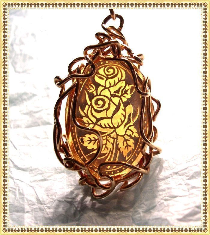 Signed Hand Wrought Metal Work Pendant Etched Glass