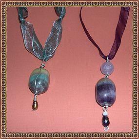 Duo Sterling Silver Fluorite Amethyst Pearl Pendant Each