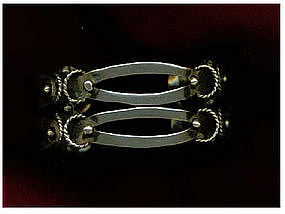 """Vintage Mexican Sterling Bracelet Double Tier Cuff """"MS"""""""