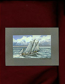 Vintage Painting by Charles E. White Sailboat on Board