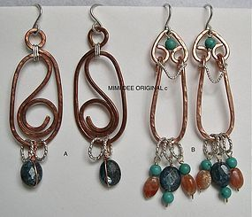 Signed Studio Copper Sterling Hammered Earrings Gems