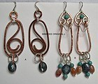 Signed Mimi Dee Studio Copper Sterling Hammered Earrings Gems