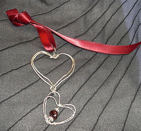 Signed Mimi Dee Sterling Studio Double Heart Pendant Garnet