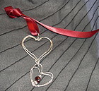 Signed Sterling Studio Double Heart Pendant Garnet