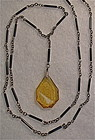 Vintage Etched Amber Glass Drop Black Tube Sautoir Necklace
