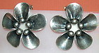 Vintage Denmark N E From Sterling Clip Earrings Floral