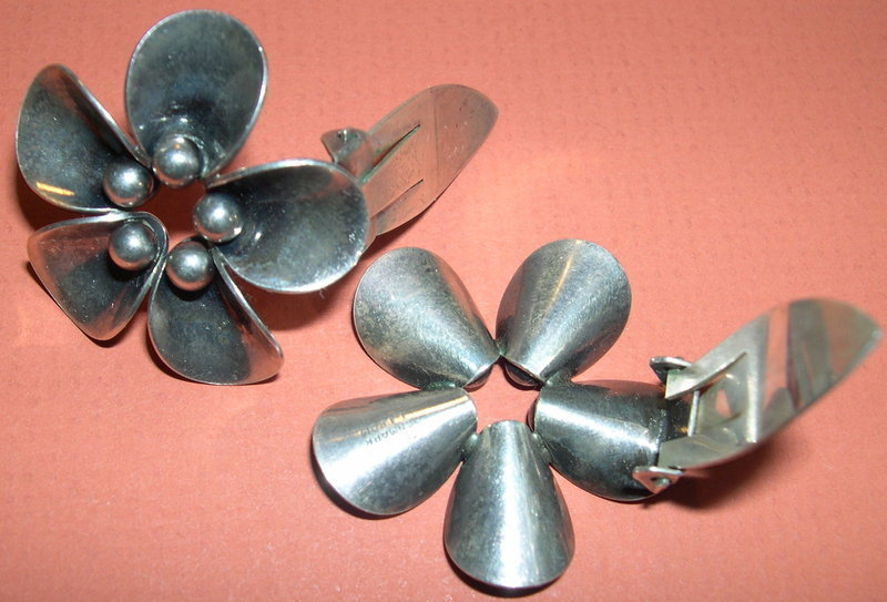 Vintage Denmark N E From Sterling Clip Earrings Floral