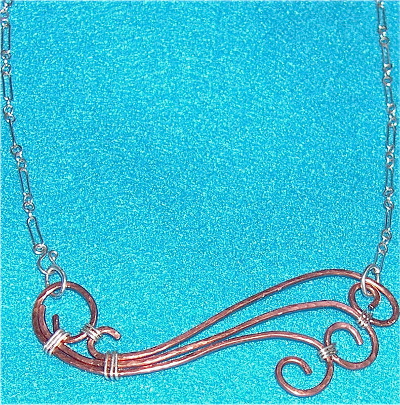 Studio Signed Hammered Copper Necklace Sterling