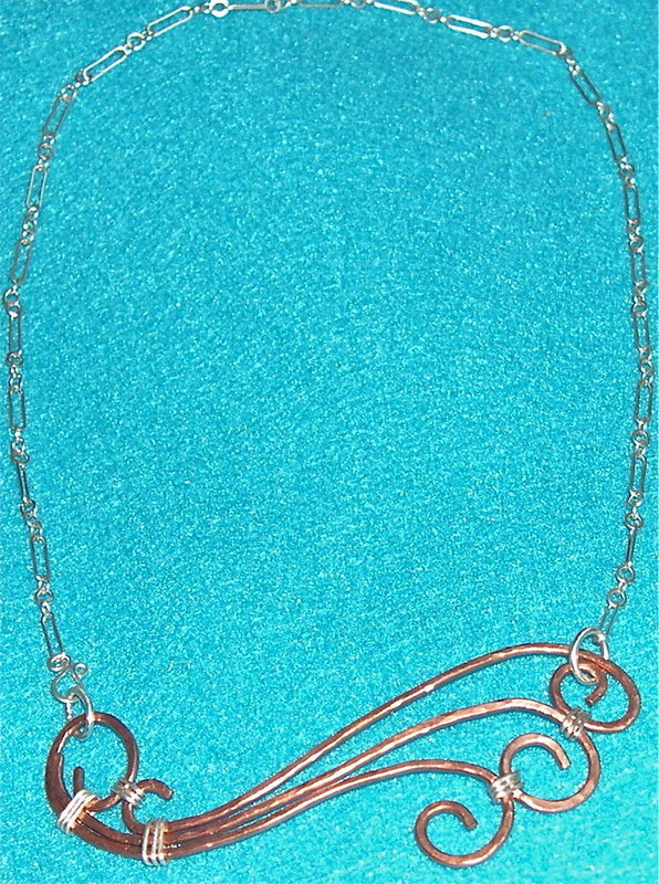Studio Signed Hammered Copper Necklace Sterling