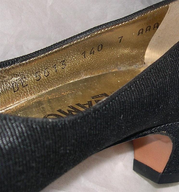 NWOB Ferragamo Black Fabric Leather Shoes Vintage Musi Clips