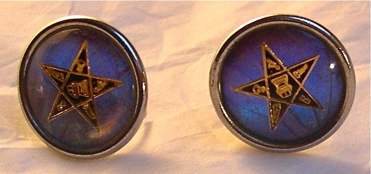 Vintage Morpho Butterfly Wing Round SB Earrings Star