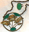 Vintage Foliate Brass Necklace Ring Green Glass Stone Each or Duo