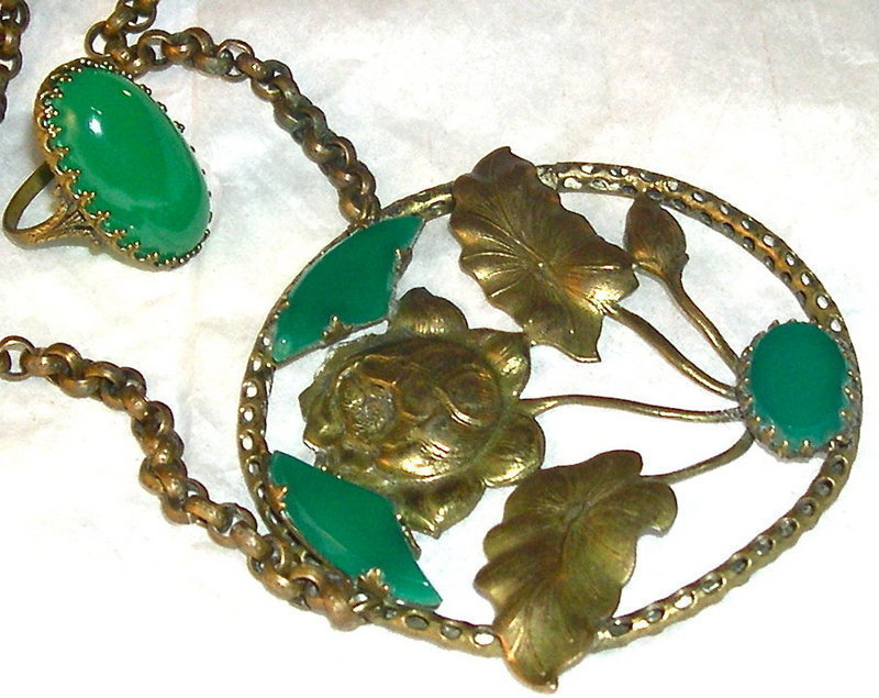 Auction Vintage Foliate Brass Necklace Ring Green Glass Stone Duo