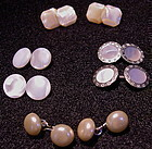 Vintage Cuff Links MOP Mother of Pearl 4 Pair Lot