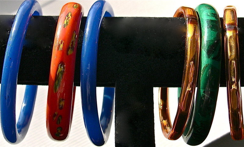 Vintage Chinese Peking Glass Bangle Blue Orange Green Asst.