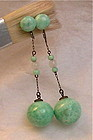 Vintage Art Deco Sterling Peking Jade Green Glass Dangle Earrings