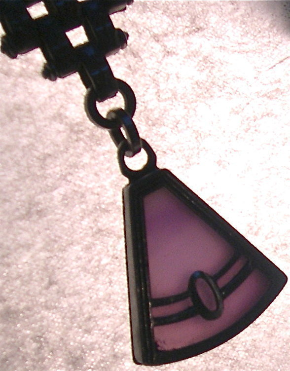 Vintage Art Deco Articulated Watch Chain Fob Plum Glass